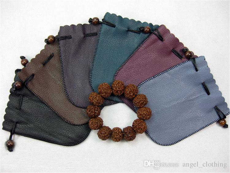 Bolsas de regalo de la joyería con cordón de cuero de la PU Bolsas Bolsa de almacenamiento de contenedores Perlas de cinturón de rezo bolsas de bolsos de color al azar