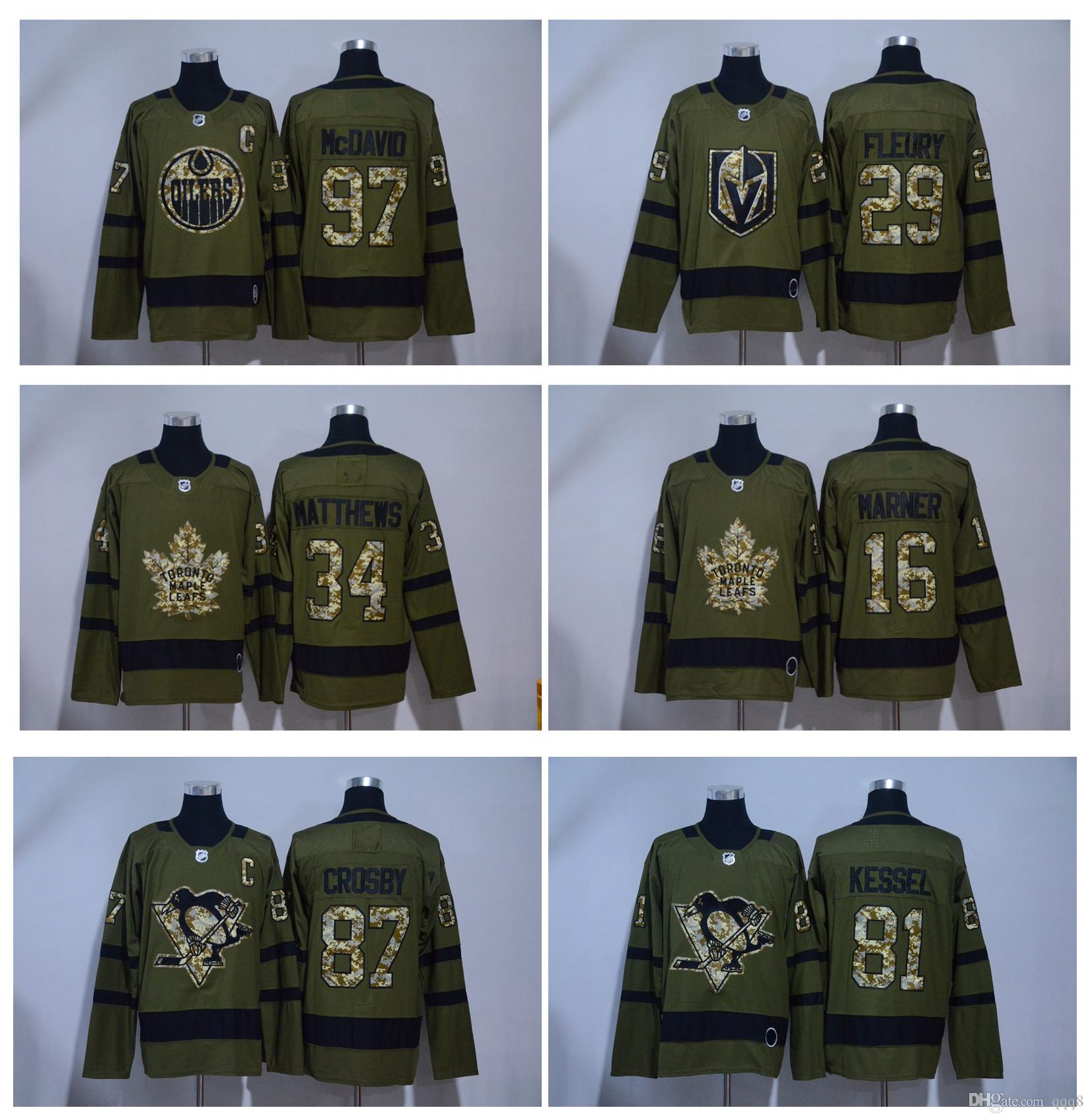 2018 Salute To Service Ice Hockey Jerseys Army Green 97 Connor ... 9314f30f4