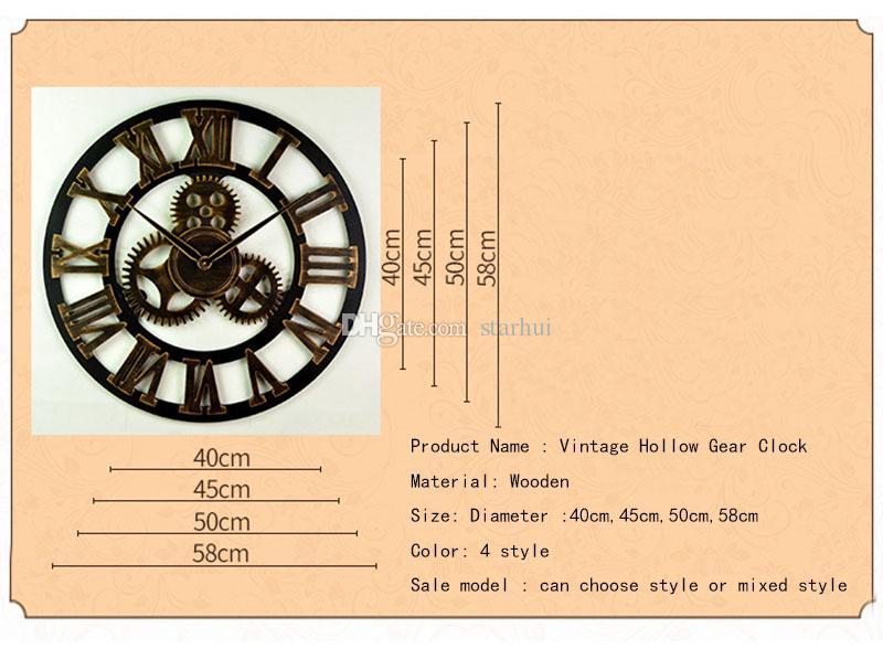 4 نمط خمر الجوف جير جولة ساعة الإبداعية ديكور المنزل غرفة المعيشة جدار حائط شحن مجاني WX9-44