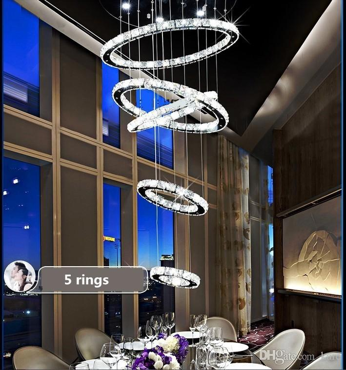 Modern 5 Circle Ring Minimalist Penthouse Floor Living Room Led K9 Crystal Chandeliers Creative Villa Long Circular Staircase Drop Lights Black Chandelier