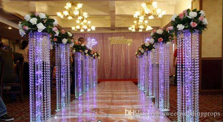/ Hochzeits-Kristallsäule mit Acrylkorn-Hochzeits-Straßen-Blei-Stand ohne LED-Licht