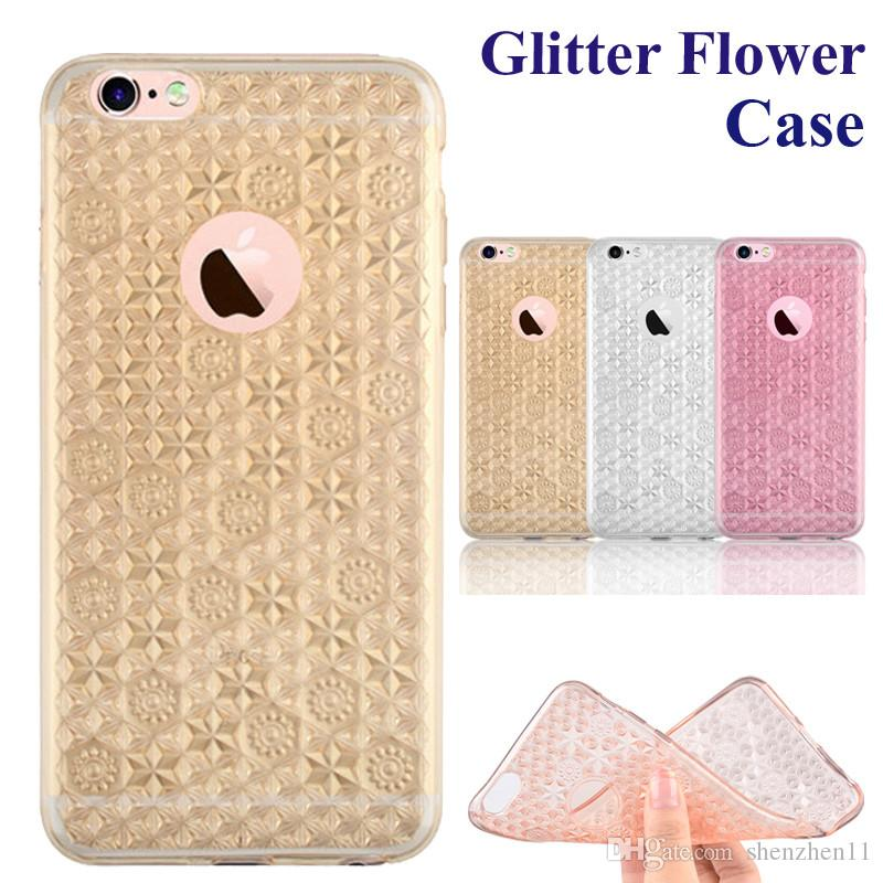 separation shoes 65862 ce485 For Iphone 6S Cases Glitter Flower Case Ultra-thin Bling Bling Case Soft  TPU Inner Gleamy Sliver Slice For Samsung S7 S7 Edge 6S SCA219