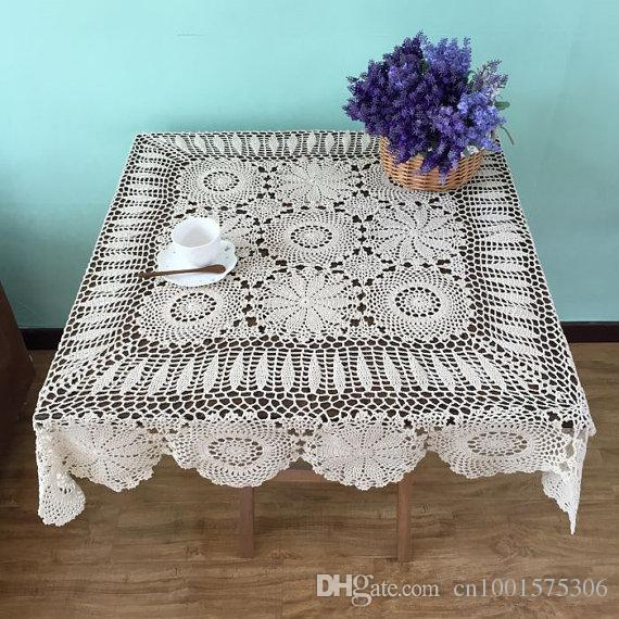 Square Table Cover, 100% Handmade Crochet Tablecloth, Hand Crochet Table  Topper Square, Nice Crochet Pattern Table Linen ~ Square Purple Tablecloth  Pink ...