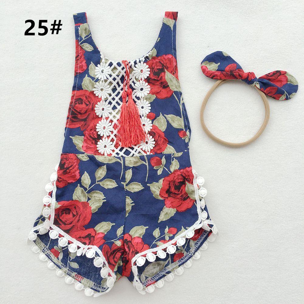 夏の花のフリンジ幼児の女の子のロンパースセットコットンレースベビーロンロンパース+ヘッドバンド2ピースセットフラワープリントジャンプスーツ新生児の片方幼児C