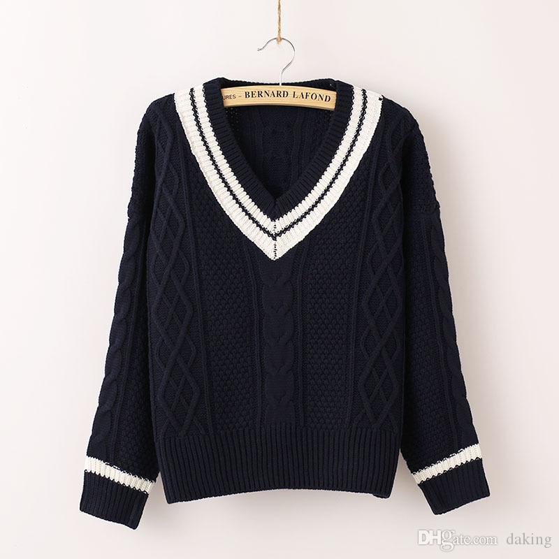 Nouveau Printemps Automne en Europe US Fashion Stripe VNeck Slim Casual Femmes Pull à manches longues Pull Crochet Twist bonne qualité Pull en maille