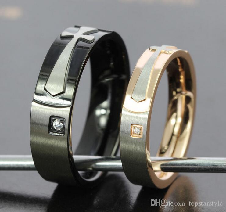 5 paia lotto Oro / Black Plating Coppie Anelli 316 Anelli in acciaio inossidabile Alta polacca CR-022