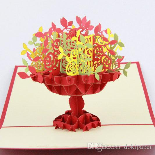 Handmade pop up vase flower greeting card thank you card birthday handmade pop up vase flower greeting card thank you card birthday invitation card wedding invitation 3d card free digital greeting cards free e from m4hsunfo
