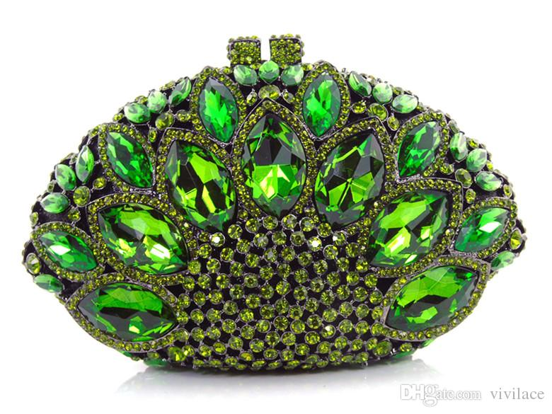 !! Z16-6 green color fashion top crystal stones ring clutches bags for ladies nice party bag