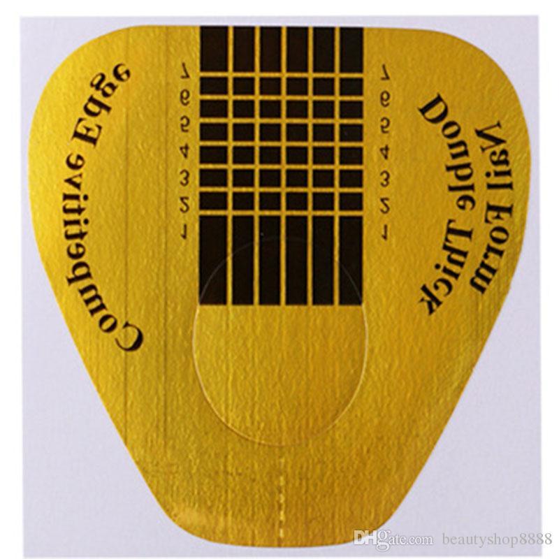 A1-D038 Nail Art Uzatma Tırnak Formu 500 Adet Altın U Şekilli Tırnak Etiket Bant Kılavuzu Çıkartmalar Yapışkan Akrilik UV Jel İpuçları Toptan