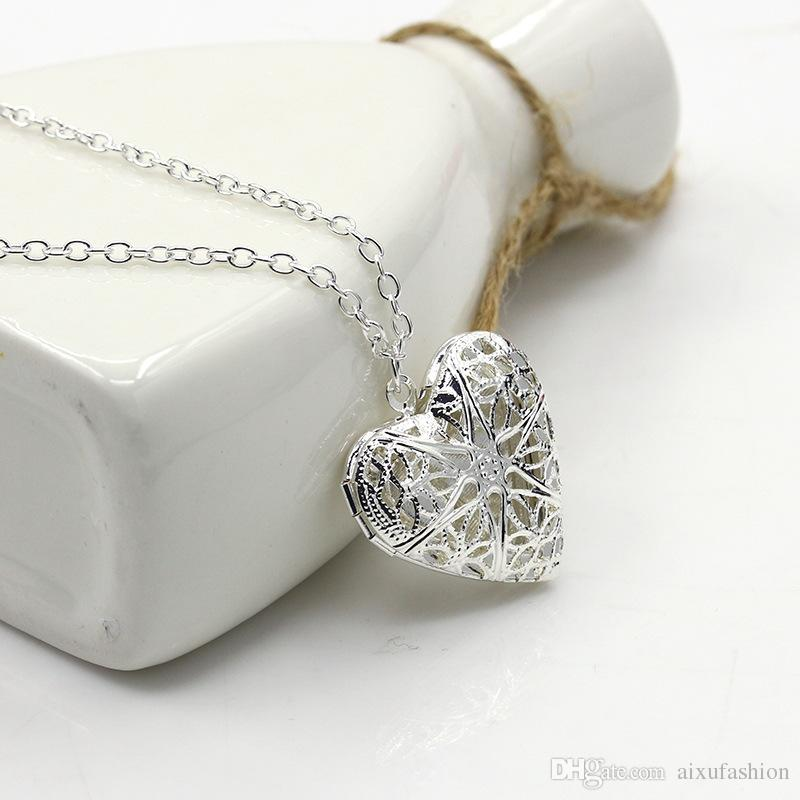 Silver Color Hollow Carved Can Open Locket Necklaces Fashion Women Choker Jewelry Link Chain Cute Heart Pendant Necklace Hot Sale