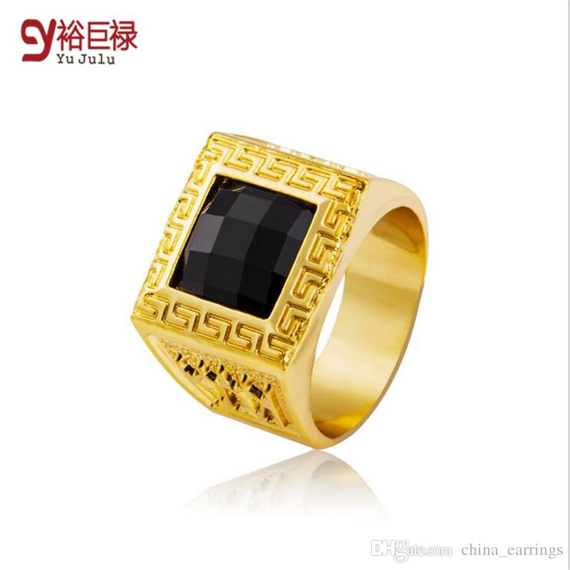 2018 18k Real Gold Rings Bling Crystal Ring Men Gift Hip Hop Rings