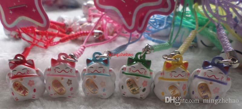 Hot!Various Color Cute Maneki Neko Lucky Cat Bell Mobile Cell Phone Charm Popular Gift