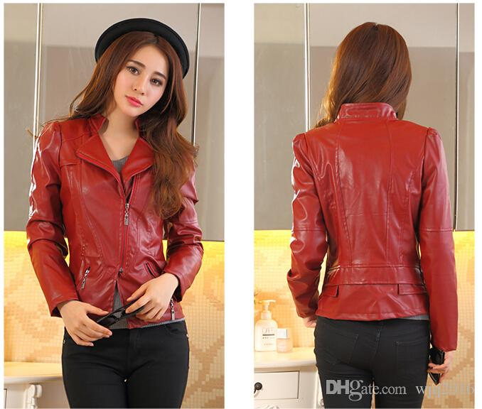 2017 2016 Women Short Slim Small Leather Jacket Girls Sexy Coats ...