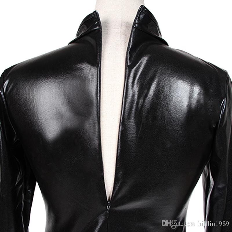جودة عالية طويلة الأكمام مثير أسود اللاتكس فو الجلود ارتداءها امرأة المثيرة zentai catsuit صنم ارتداء W850842