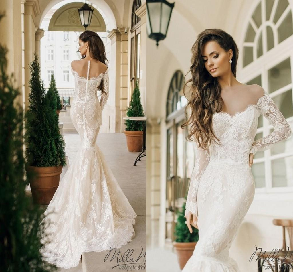 b3f88c7d916d Milla Nova 2019 New Fashion Full Lace Dubai Arabic Off Shoulder Mermaid  Wedding Dresses With Long Sleeve Sheer Neck Beach Wedding Gown Short Wedding  Gowns ...