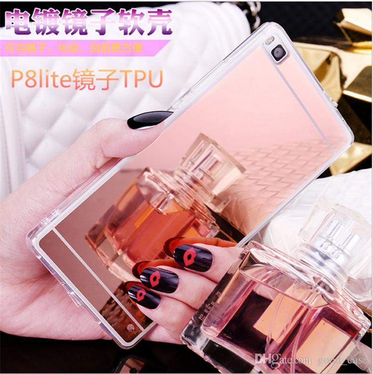 huawei P9 Estuche de lujo con espejo de oro rosa Cajas de galvanoplastia TPU cosmético viaje cubierta transparente para huawei p8 p9 lite plus honor 6 7 V8 caliente
