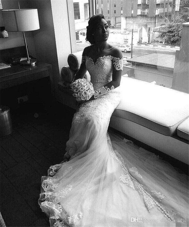 Wysokiej jakości iluzja z długim rękawem Syrenka Suknia ślubna Suknia Klejnot Neck Sukienki ślubne z zadaszonymi przyciskami Powrót Vestido de Novia