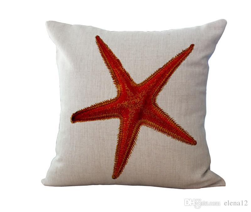 Federa cuscino animali marini in lino di cotone Federa cuscino Conchiglia Cavalluccio marino Cuscino corallo Federa arredamento 240480