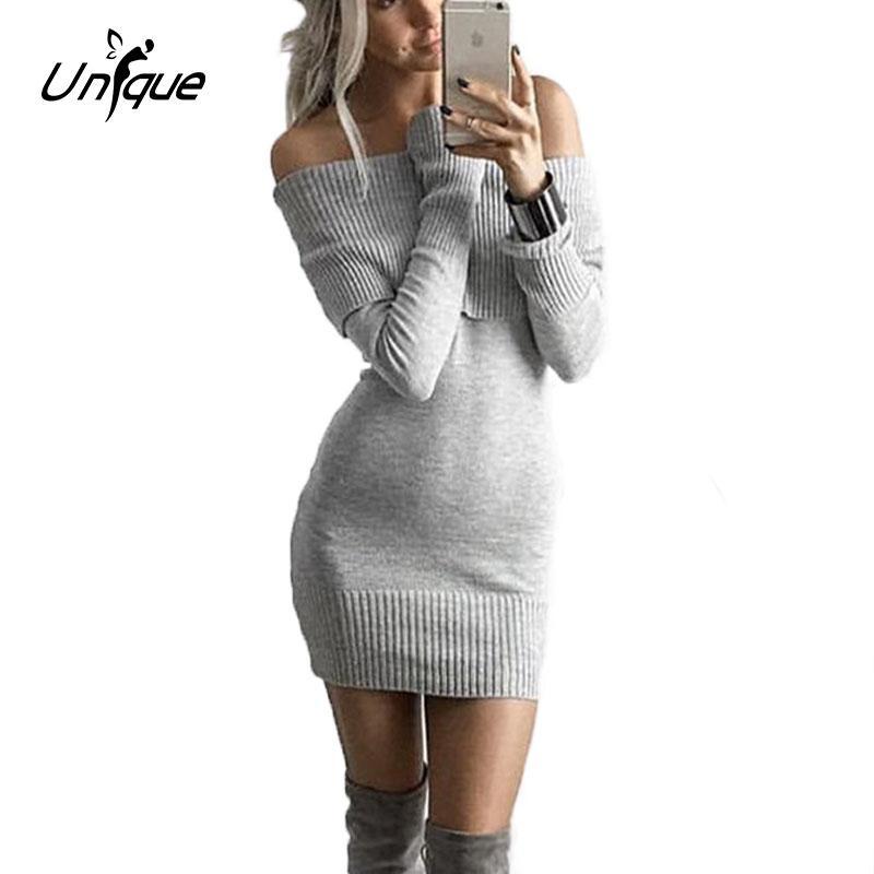 f4f5d4719b Atacado- Moda Inverno Mulheres Camisola Vestido De Lã De malha Grande  Tamanho Longo-luva Stripe One-piece Quente Fora Do Ombro Camisola Vestidos  RS054