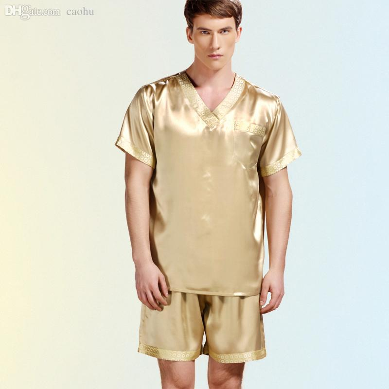 f4ba03bec2 2019 Wholesale 2016 New Summer Men Pajamas Silk Sleepwear Male Short Sleeve Shorts  Sets 100% Silk Satin Men Pajamas Homewear From Caohu