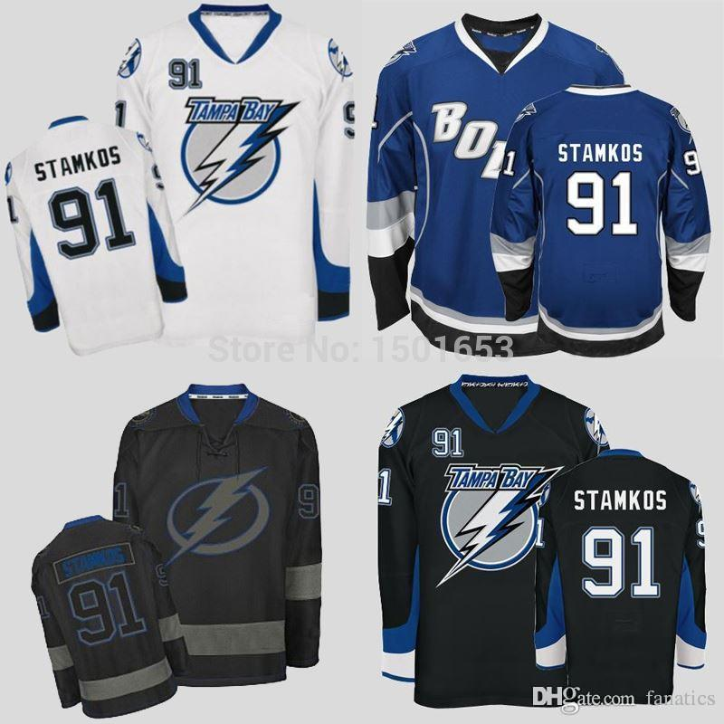 2016 Tampa Bay Lightning Hockey Jerseys  91 Authentic Steven Stamkos Jersey  Home Blue White Alternate Third Black Stitched Jerseys UK 2019 From  Fanatics b8aa1dfbe42