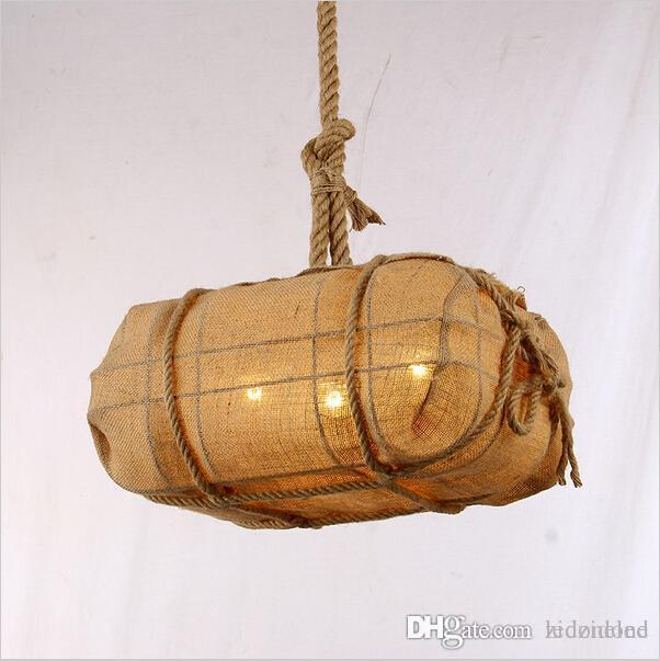LED Vintage Sack Light Industrial Hand Woven Rope Pendant