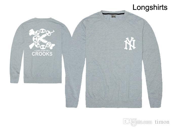 Crooks et Châteaux hommes T-shirts de la mode Vêtements pour hommes manches longues ronde Marque cou homme Chemise sport Casual Livraison gratuite