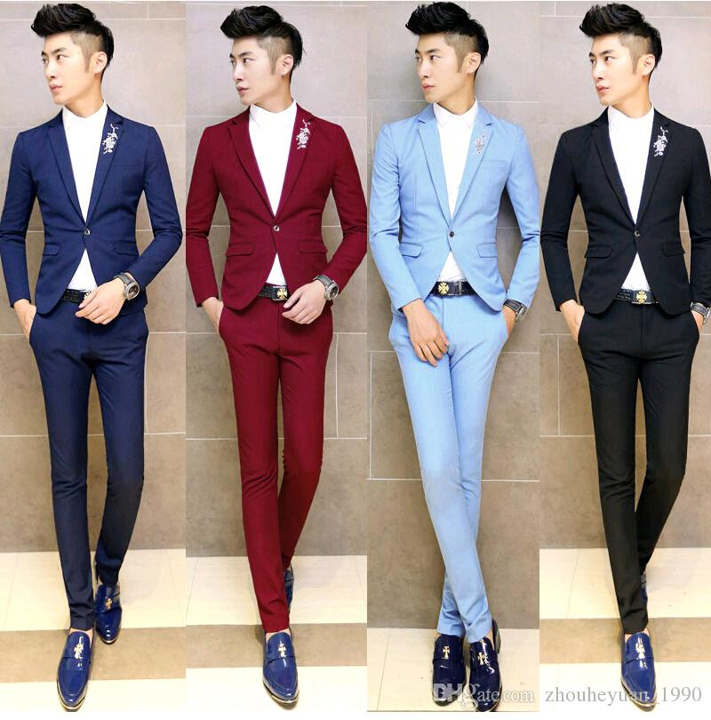 2018 Floral Embroidery Formal Colored Tuxedo Men Suit Set Mens ...