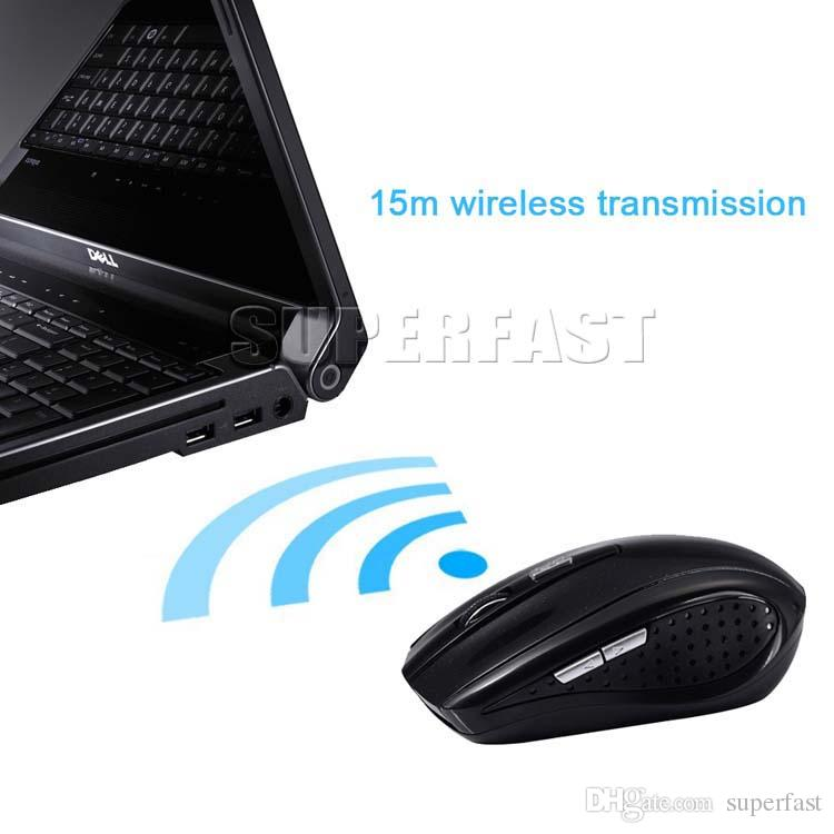 2.4GHz USB 광 무선 마우스 USB 수신기 마우스 스마트 슬립 에너지 절약형 마우스 컴퓨터 태블릿 PC 용 노트북 데스크탑 화이트 박스 포함