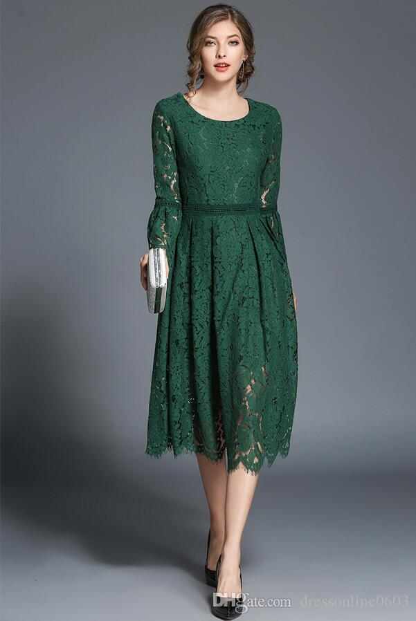 5c61148da885 2019 2017 Fall Green Lace Dresses With Flare Sleeves Scoop Neck Women  Modest Knee Length Prom Gown Cheap Online From Dressonline0603
