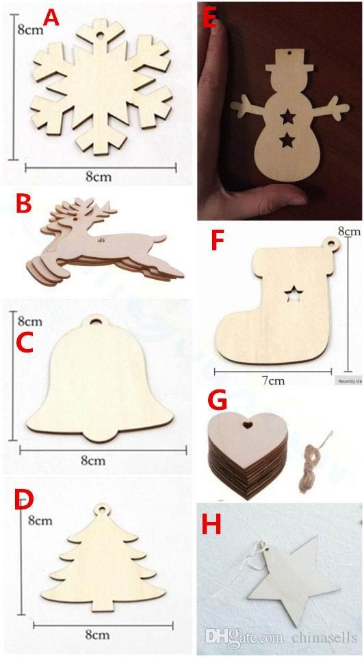 Bells Christmas tree snowman sock star wooden hang Paint home bar hotel Party Christmas Decoration Christmas Tree Ornament