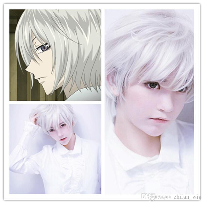 ZF 30 CM Hommes Court Droite Argent Pure White Naturel Perruques HighTempreture Résistant Synthétique Cheveux Mode Mode Bel Homme Perruques