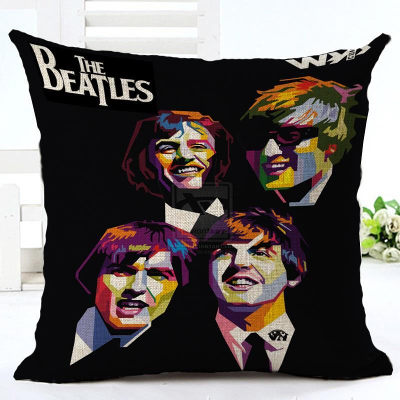 45cm Fanshion Cotton Linen Fabric Throw Pillowcase Beatles Hot Sale 18 Inch New Home Coffee House Sofa Back Decor Cushion Cover