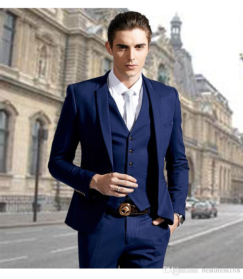 New Stylish Slim Fit Blue Groom Tuxedos Stand Colar One Button ...