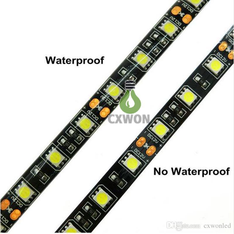 Black PCB LED Strip 5050 RGB IP65 Waterproof DC12V 300led 5m Flexible LED strip lights 100m DHL