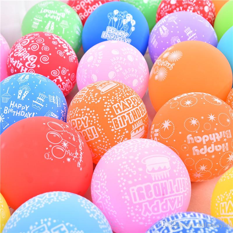 12 28g Printting Happy Birthday Balloon Thickening Latex Matte Smooth Balloons Kids Party Decoration Balloonfest Helium