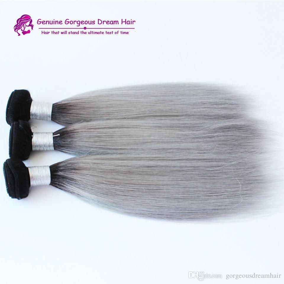 새 도착 브라질 / ombre 실버 회색 머리 직조 1b / 회색 2 톤 브라질 인간의 머리 확장 머리 뭉치