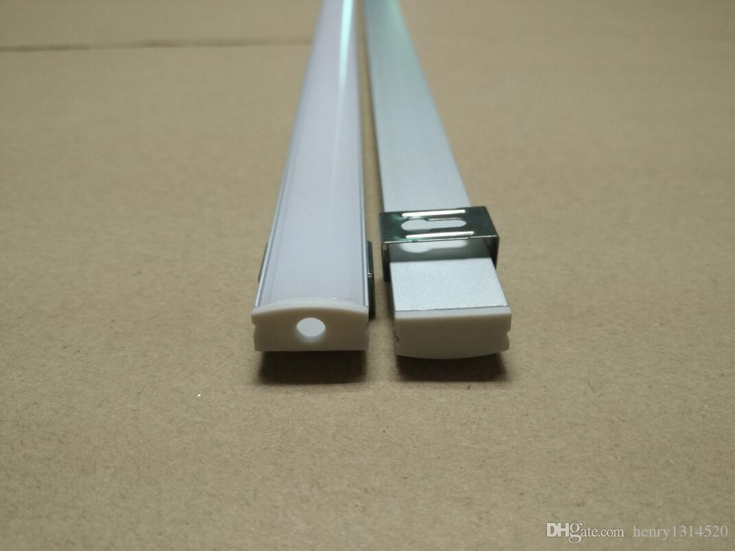 Trasporto di alta qualità 2Meters / pz Translucence Frosted coperchio LED alluminio Profilo con testate clip di montaggio