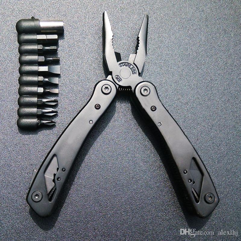 Brand New Black Color Household Bicycle Stainless Steel Floding Multitool with Pliers tool with Knife Screwdriver