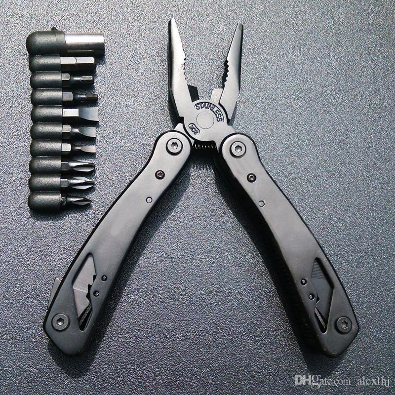 Multitool floding a estrenar del acero inoxidable de la bicicleta del hogar del color negro con la herramienta de los alicates con el destornillador del cuchillo