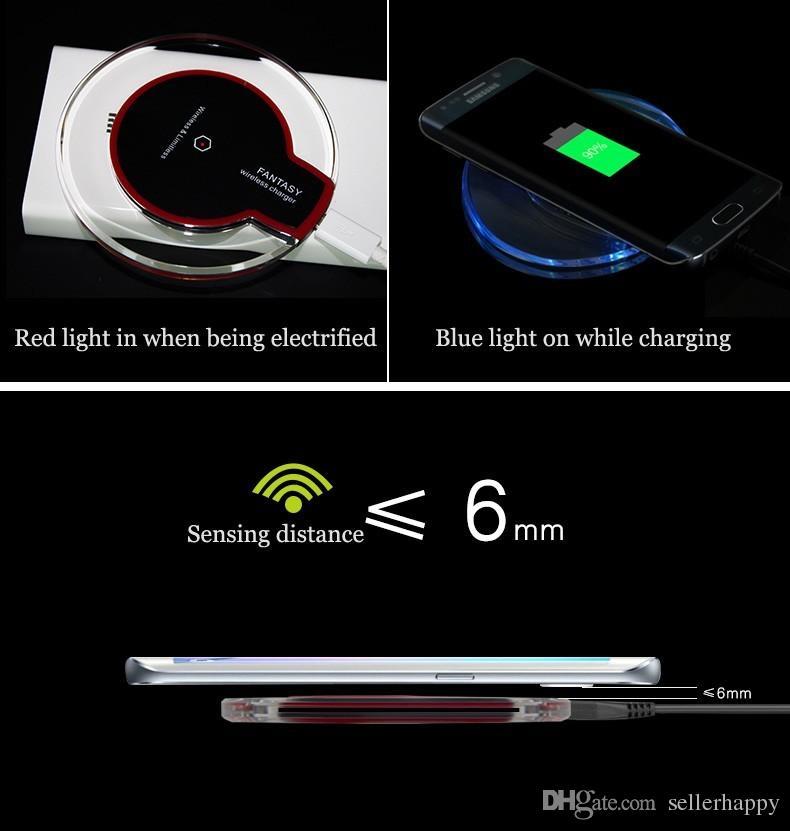 Qi cargador de teléfono inalámbrico portátil de fantasía de cristal universal de iluminación LED tableta de carga para samsung galaxy S6 S7 edge