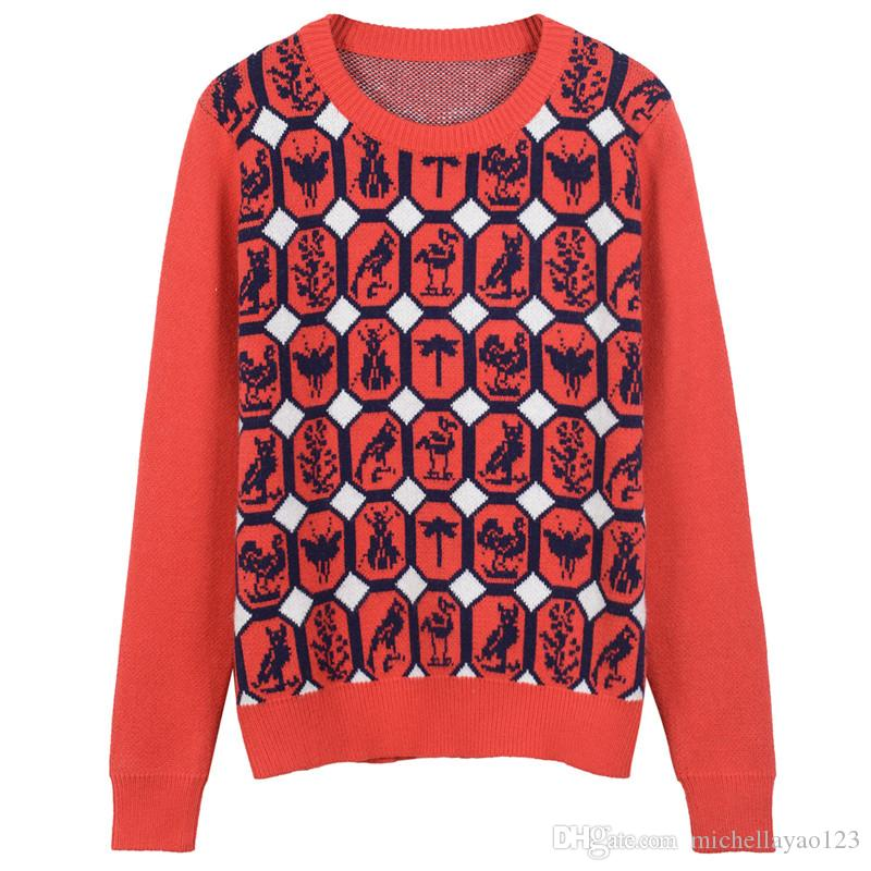 2017 Red Geometric Animal Print Pullover Men Brand Same Style Woolen Men's Sweaters DH307