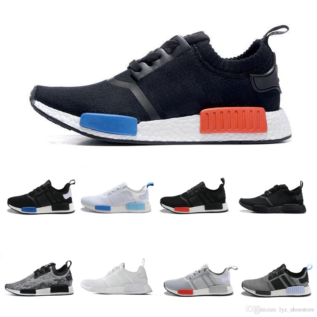 super popular ac231 e75f5 Compre Adidas Nmd R1 Boost Shoes 2017 NMD Runner R2 R1 Primeknit Blanco  Rojo Azul NMD Runner Calzado Deportivo Hombres Mujer NMD Zapatos Impulsar  Zapatillas ...