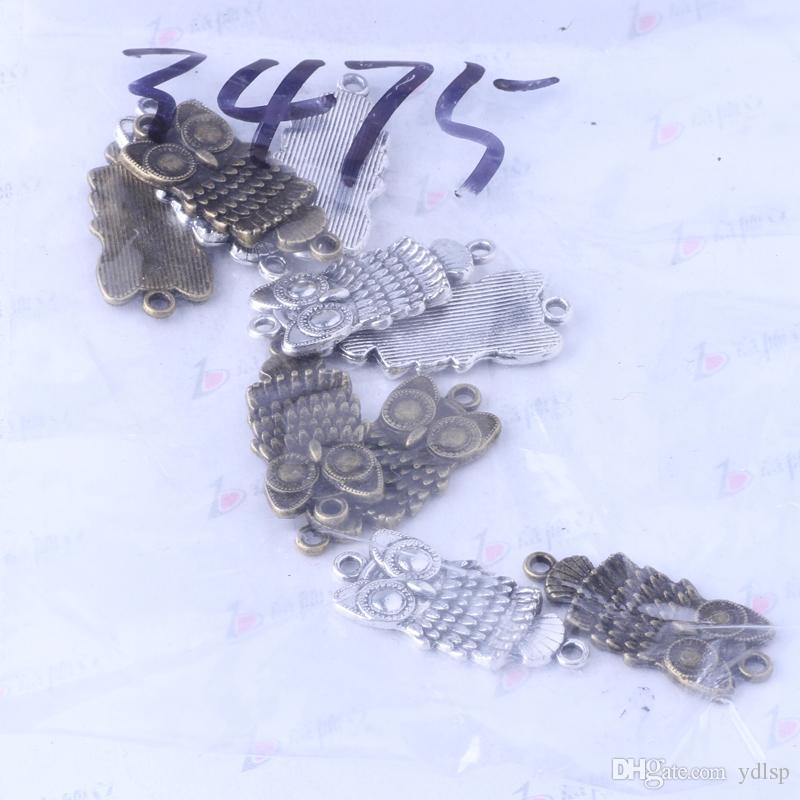 Búho encantos de plata antigua / aleación de bronce colgante de zinc joyería colgante collar apto 200 unids / lote 3475