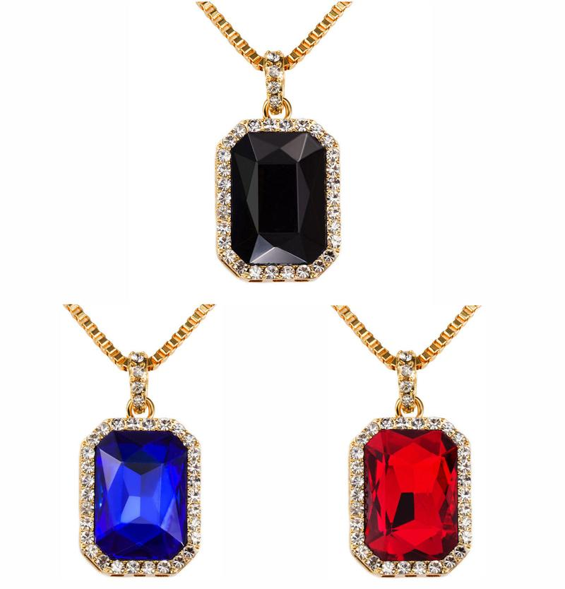 Mens hip hop 18K Gold Plated Iced Out Pave Blue Red black Ruby Stone Pendant Box Chain Necklace Hip Hop Jewelry men box necklace wholesale