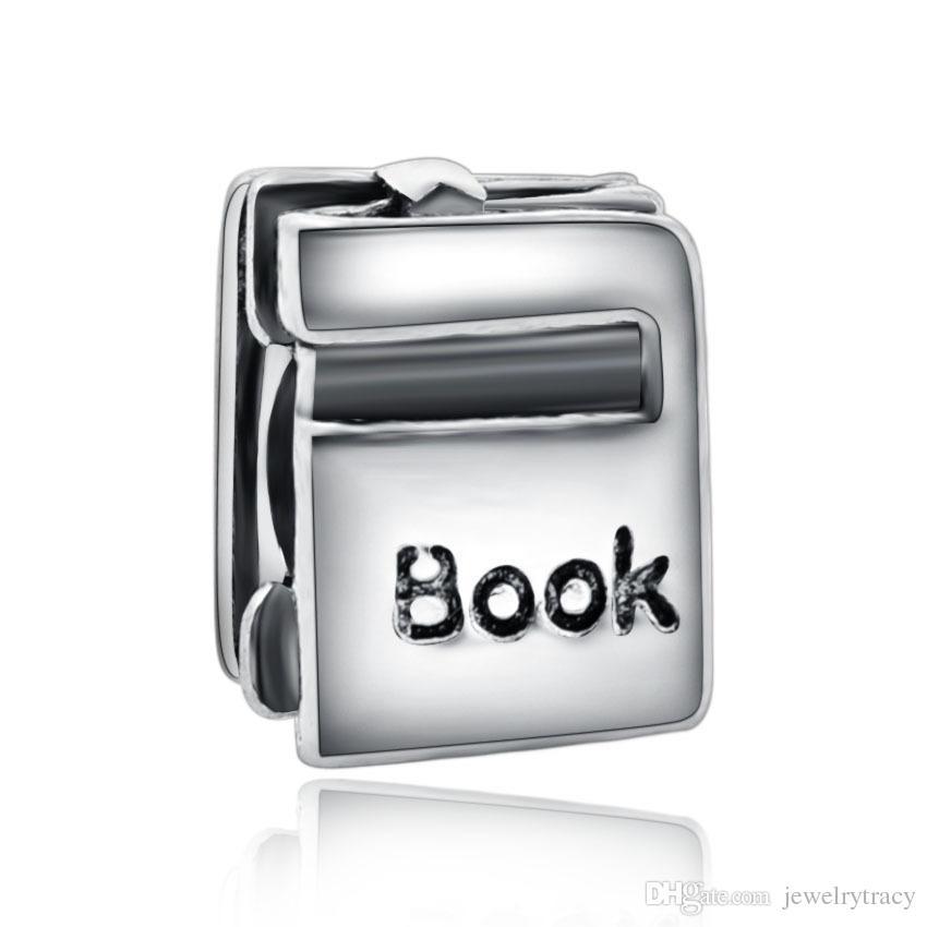 Ciondola il fascino con la lettera del libro di DIY Bead Adatto europeo Pandora Jewelry Charm Bracciali gioco di puzzle cuore grande buco