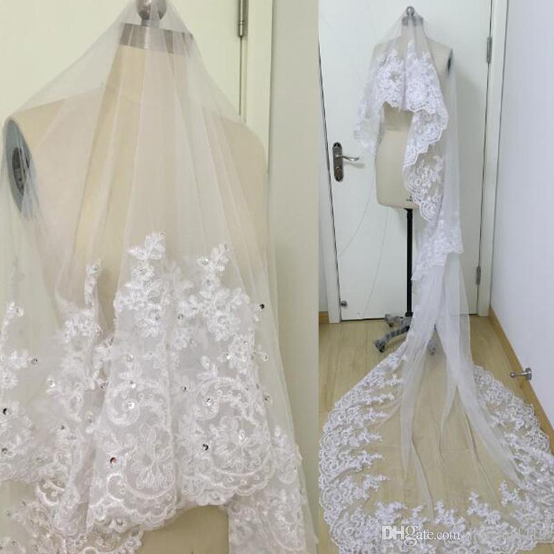 2020 Realbild Bridal Schleier Hochzeit Haarschmuck Weiß Elfenbein Lange Kristall Perlen Spitze Tüll Kathedrale Länge 3 m Kirche Schleier mit Kamm