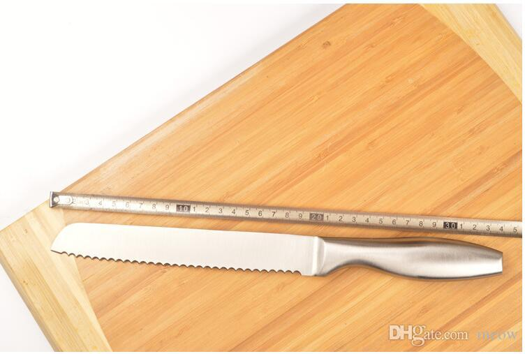 One Piece Stainless Steel Serrated Bread Slicer Knife Ultra Sharp Bread Cake Cutter 13 inch Best Kitchen Knife