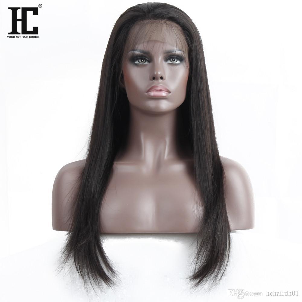 블랙 여성을위한 Malaysiay 인간의 머리 가발 말레이시아 실크 스트레이트 360 레이스 정면 가발 아기 헤어 레이스와 인간의 머리 가발
