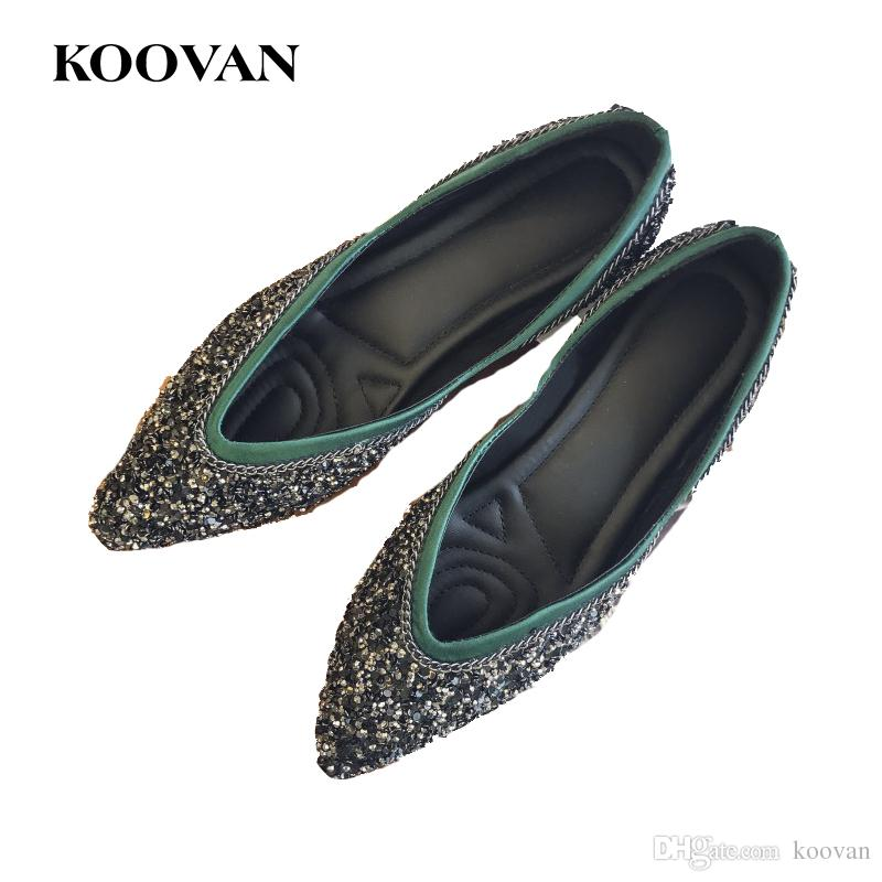 7f3328b8f66 Fashion Women Sequin Lazy Shoe Flats Ladies Pointed Loafer American ...